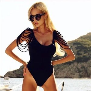 New! Stunning one piece swimsuit with fringes